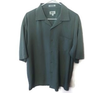 Pavo Mens Short Sleeve Dress Shirt Sage Green Sz L